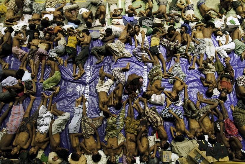 Pengungsi Rohingya di Lhoksukon, Aceh.