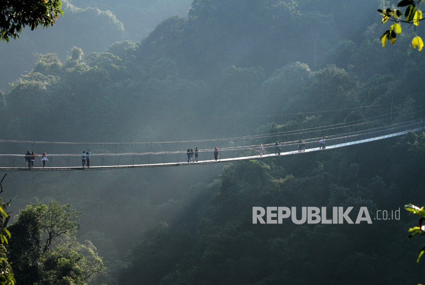 Pengunjung melintasi jembatan gantung panjang di kawasan Taman Nasional Gunung Gede dan Pangrango, di Sukabumi, Jawa Barat, Senin (18/6).