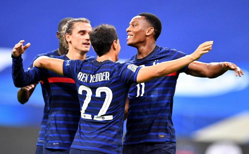 Para pemain timnas Prancis (ilustrasi). Prancis akan menghadapi Wales dan Bulgaria dalam laga pemanasan jelang Euro 2020.