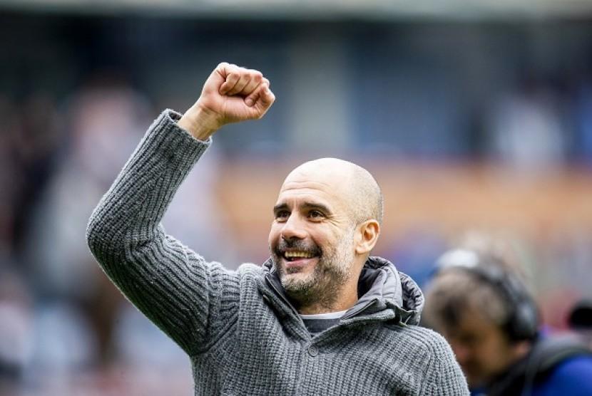 Pep Guardiola usai timnya menang atas Burnley pada pertandingan Ahad (29/4)