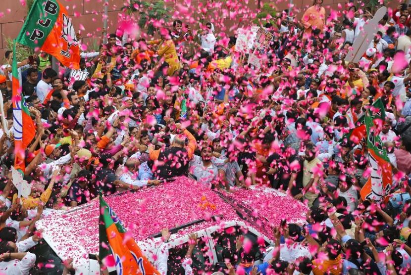 Perayaan kemenangan Partai Narendra Modi, Bharatiya Janata Party dalam pemilu India