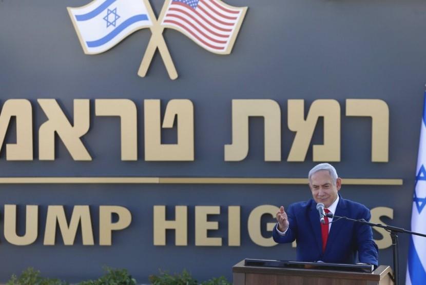 Perdana Menteri Israel Benjamin Netanyahu meresmikan permukiman baru di Dataran Tinggi Golan yang diberi nama Dataran Tinggi Trump atau Trump Height.