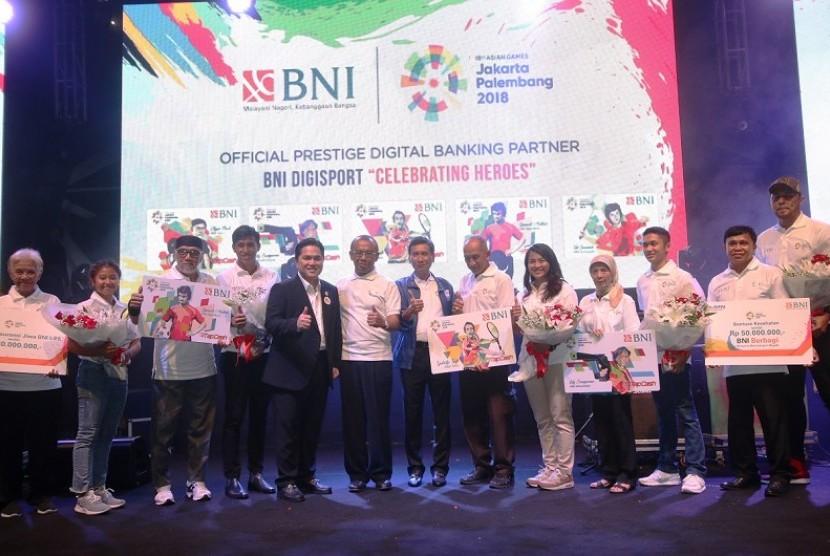 Peresmian BNI sebagai Official Prestige Digital Banking Partner Asian Games 2018, Rabu (29/11).  Salah satu layanan baru yang disiapkan BNI adalah Kartu Debit Combo Virtual Account. Selain itu, BNI secara khusus menerbitkan uang elektronik edisi Asian Games 2018, yaitu BNI TapCash Legend Limited Edition.