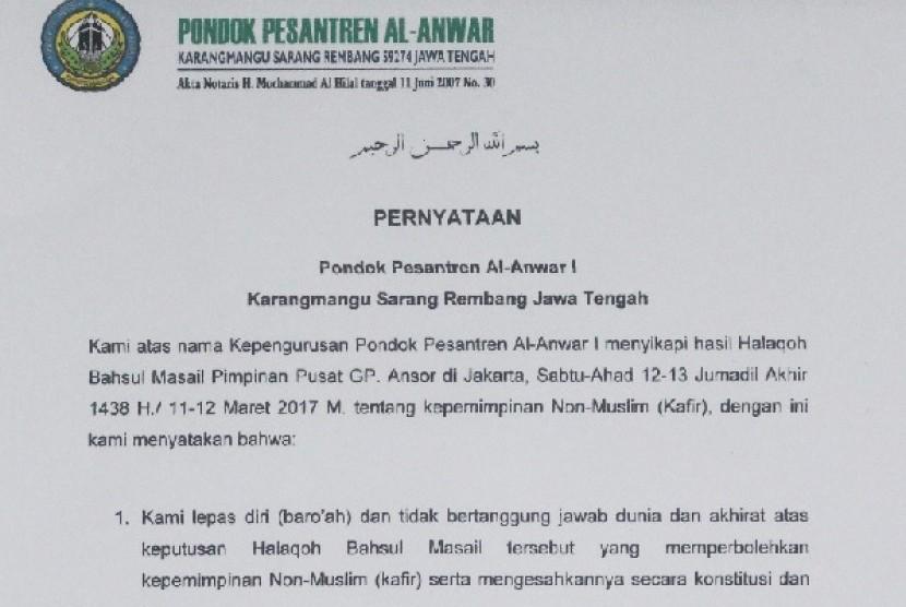Pernyataan ponpes Al Anwar soal kepemimpinan non-Muslim.