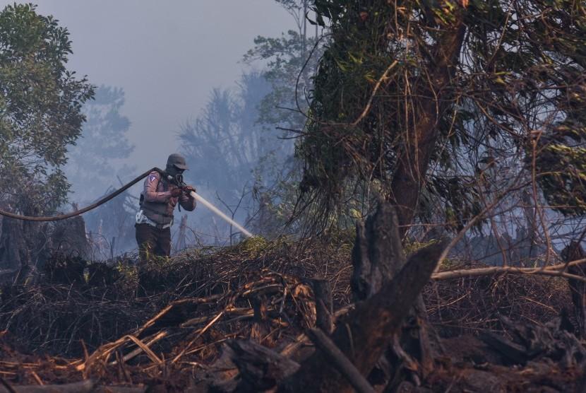 Siaga Darurat Karhutla: Personel Kepolisian Resor Dumai memadamkan kebakaran lahan gambut di Kota Dumai, Riau, Selasa (26/2/2019).