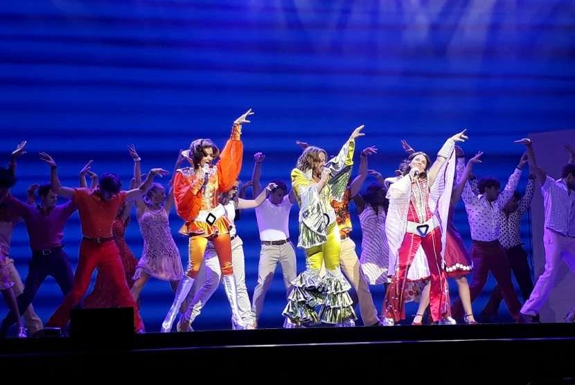Pertunjukan musikal Mamma Mia! di Taman Ismail Marzuki, Jakarta.