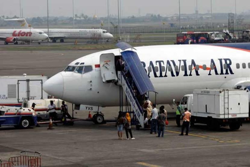 Pesawat maskapai Batavia Air di Bandara Soekarno Hatta, Tangerang, Banten.