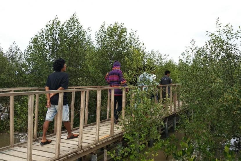 Pesona ekowisata hutan mangrove yang berada di pesisir Laut Jawa, Dusun Pasir Putih, Desa Sukajaya, Kecamatan Cilamaya Kulon, Karawang, Kamis (5/12).