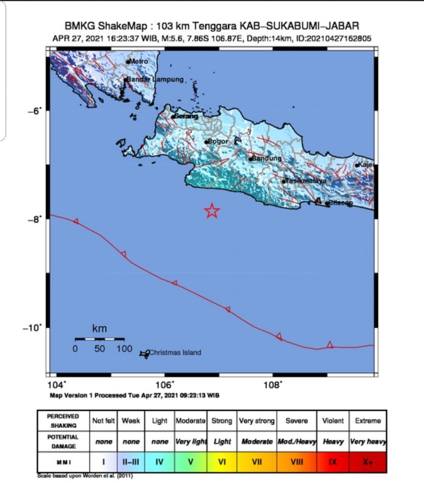 Peta gempa bumi guncang Sukabumi Jawa Barat