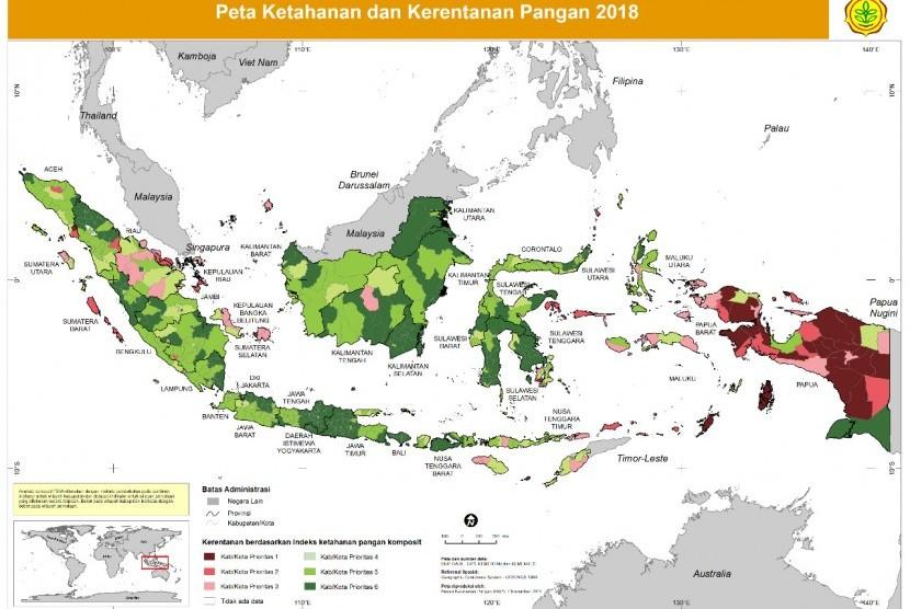 Peta kerawanan pangan Indonesia.