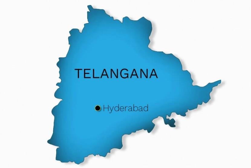 Peta negara bagian Telangana, India