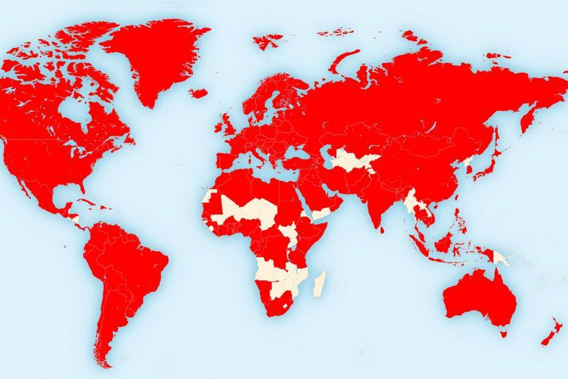 Peta penyebaran pandemi Covid-19. Dokter ingatkan, semua orang bisa terinfeksi, virus corona harus diperangi bersama.
