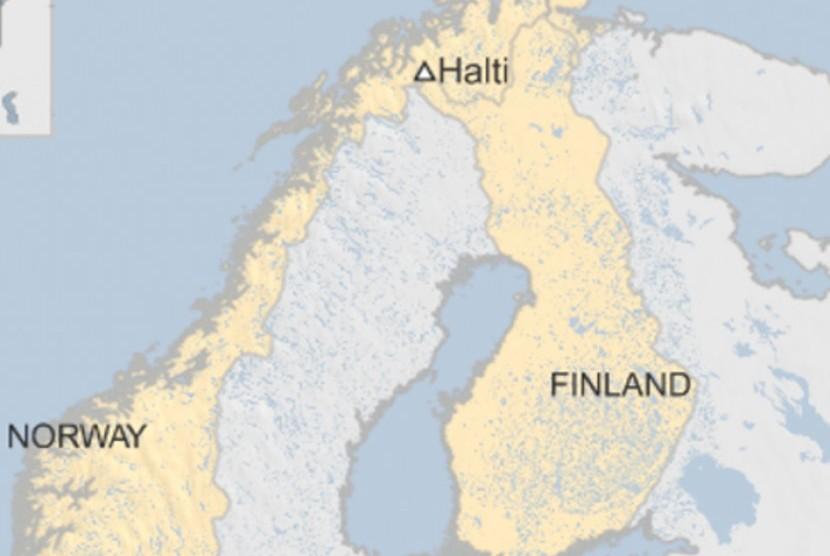Peta perbatasan Norwegia dan Finlandia.