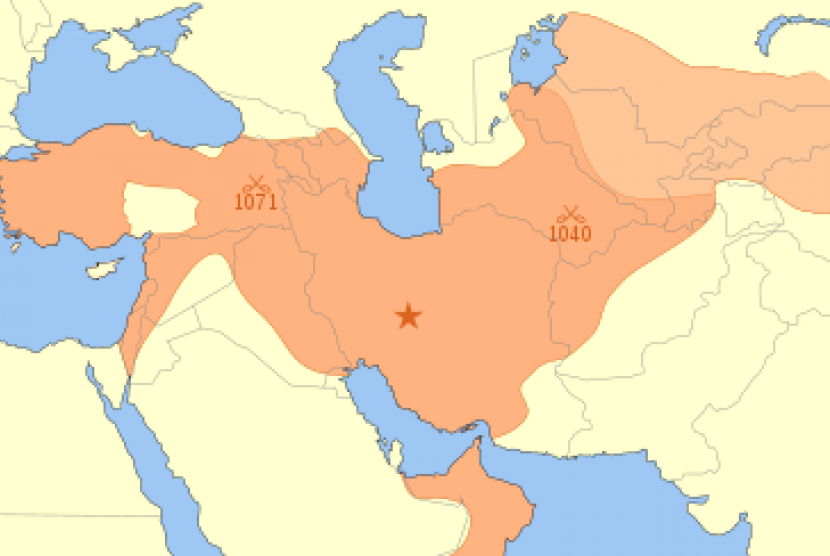 Peta wilayah Dinasti Seljuk.