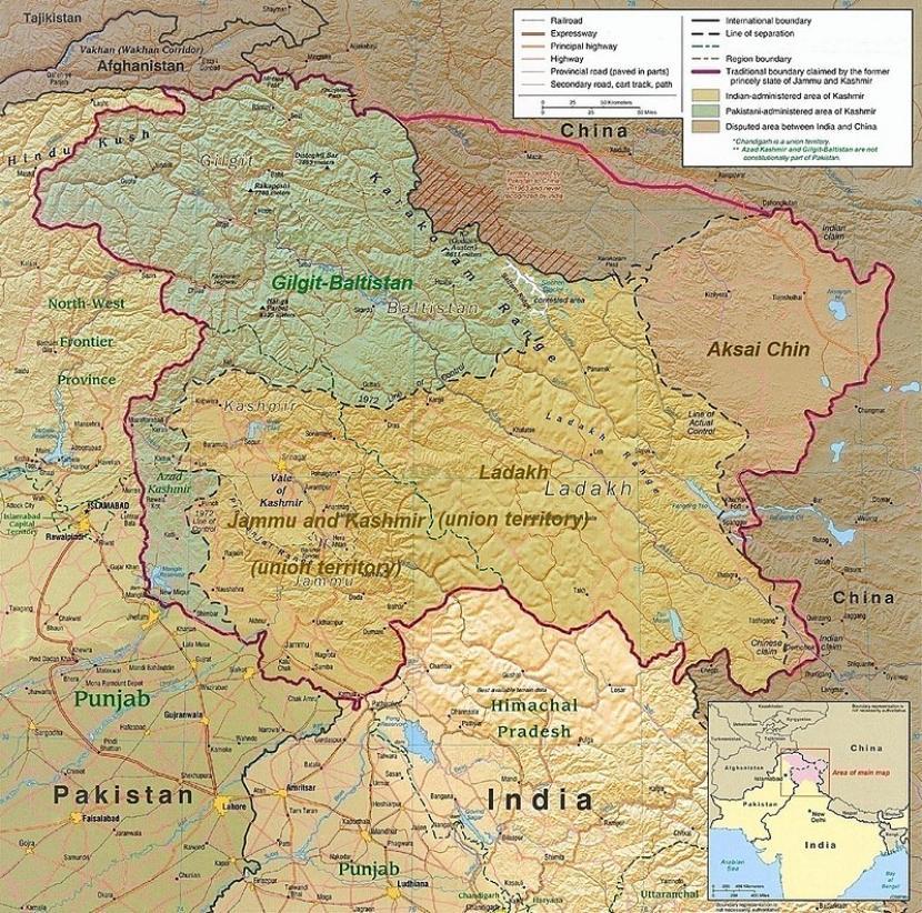 Peta wilayah sengketa India-China-Pakistan.