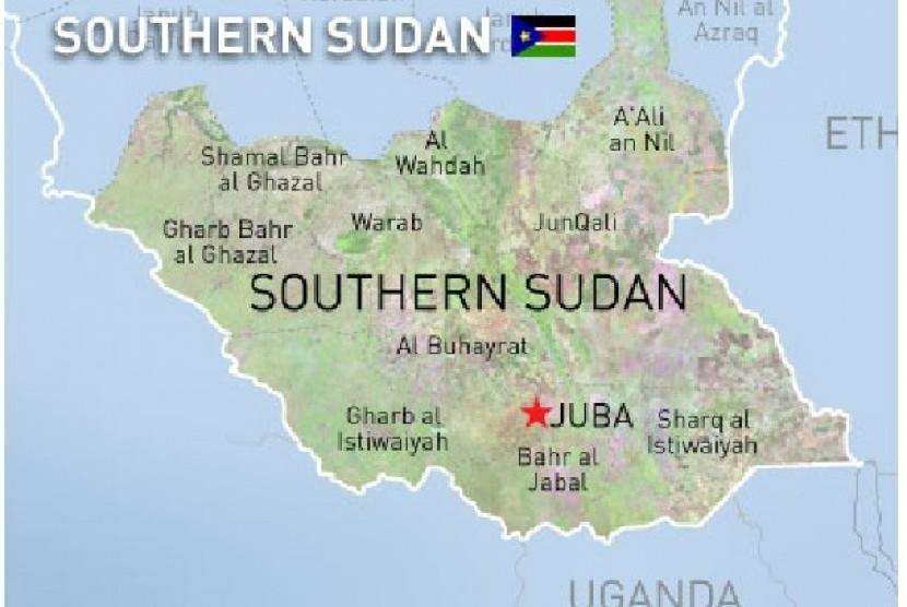 Peta wilayah Sudan Selatan