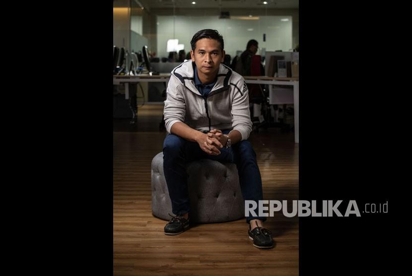 Petenis Christopher Rungkat berpose saat berkunjung ke Kantor Berita Antara, di Wisma Antara, Jakarta, Jumat (12/7/2019).