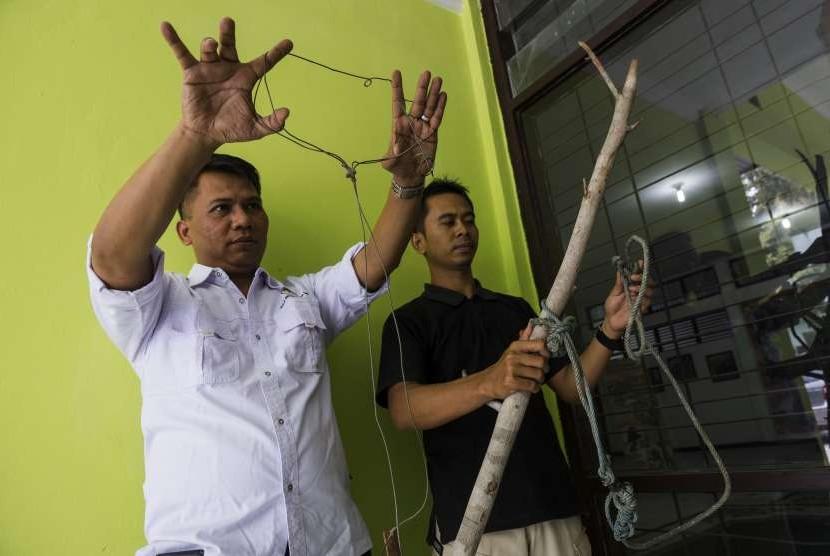 Petugas Balai Besar Konservasi Sumber Daya Alam (BBKSDA) Provinsi Riau menunjukan jerat yang membunuh Harimau Sumatra liar, di Kota Pekanbaru, Riau, Kamis (27/9).
