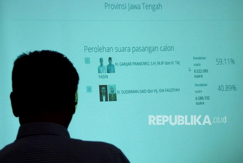 Petugas KPU Jateng mengamati hasil penghitungan suara real count sementara menggunakan Sistem Informasi Penghitungan Suara (Situng) dalam Pilgub Jateng, di Semarang, Jawa Tengah, Kamis (28/6).