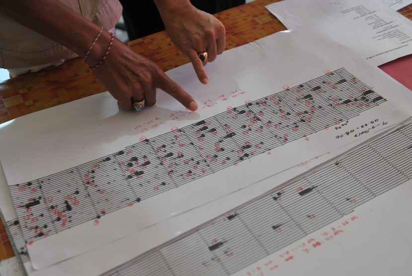 Petugas membaca grafik seismogram hasil pemantauan aktifitas Gunung Agung di Pos Pemantauan Desa Rendang, Karangasem, Bali, Selasa (19/9).