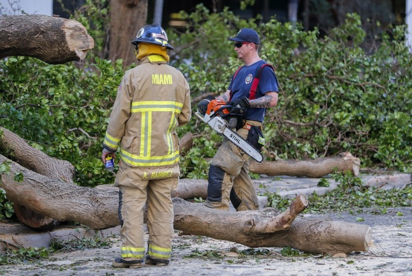 Petugas memotong batang pohon pascabadai Irmai di Miami, Amerika Serikat.