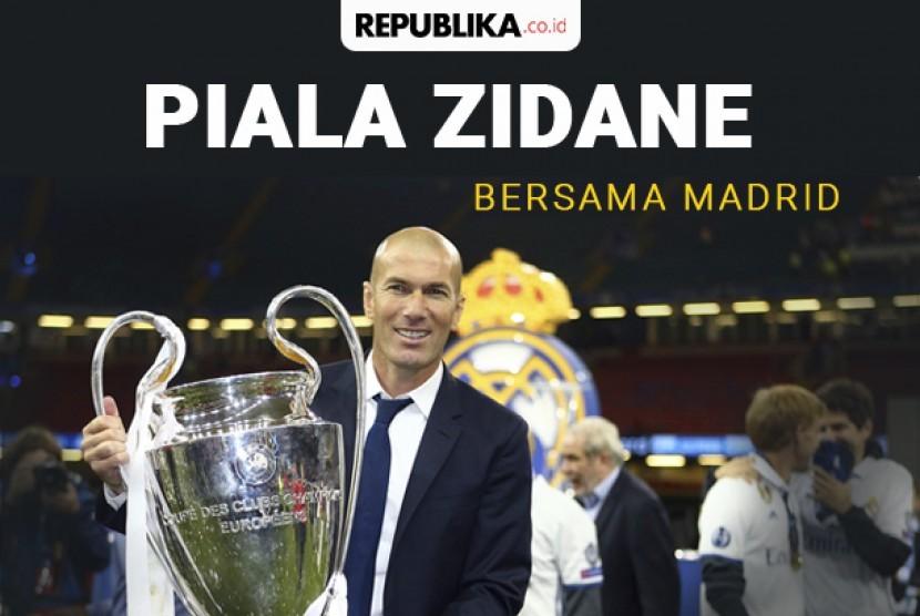 Piala yang direngkuh Zinedine Zidane selama melatih Real Madrid