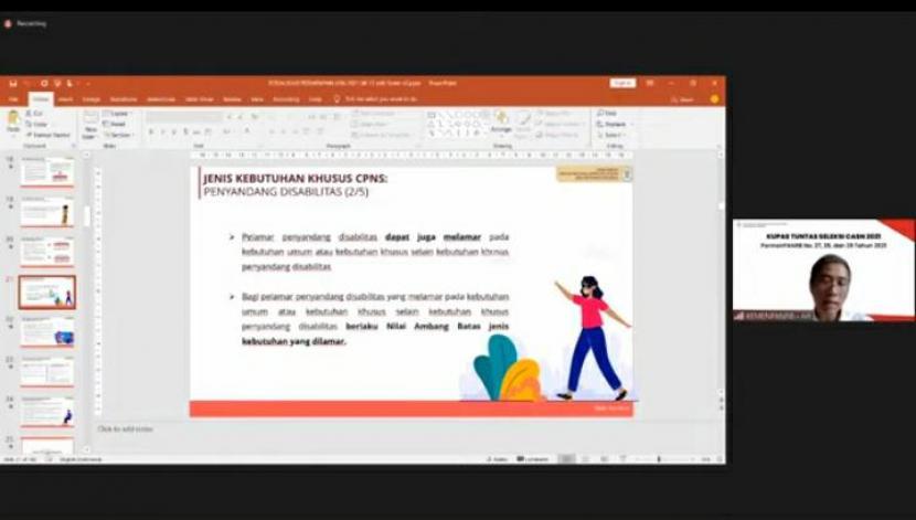 Plt. Asisten Deputi Perencanaan dan Pengadaan SDM Aparatur KemenPANRB Katmoko Ari Sambodo dalam acara live KemenPANRB