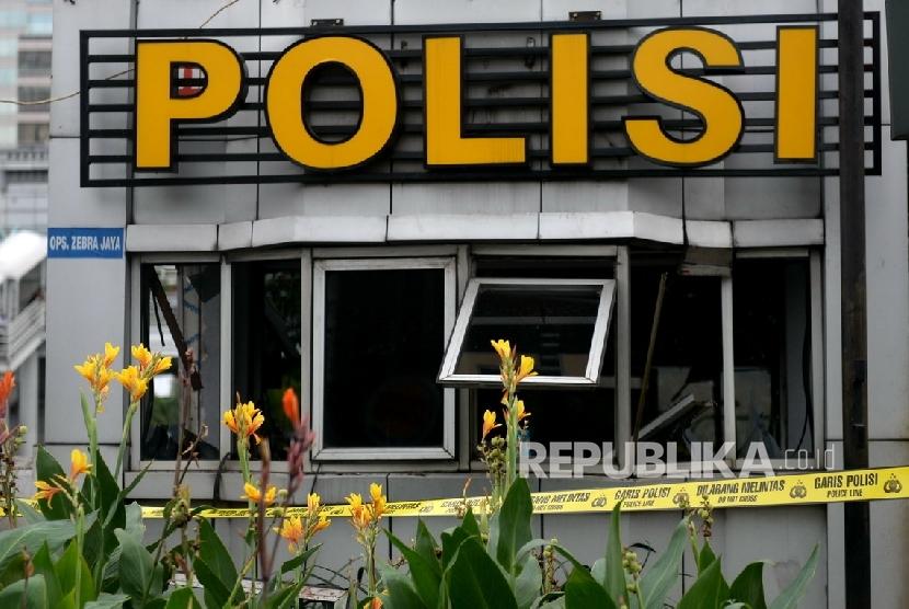 Pos Polisi Sarinah tempat ledakan bom pada Kamis (14/1).  (Republika/Wihdan)