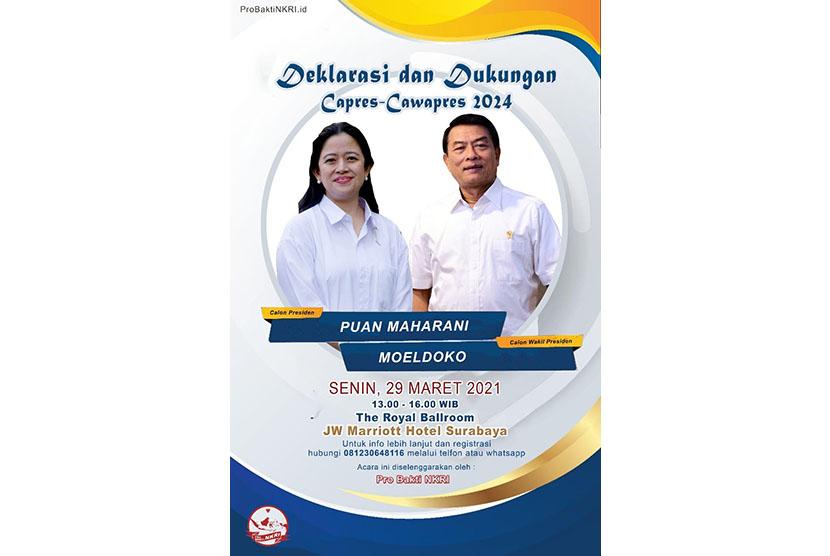 Poster deklarasi pencalonan presiden untuk 2024 yang menampilkan Puan Maharani-Moeldoko yang disebut akan menggelar deklarasi di Surabaya, Jawa Timur. (Ilustrasi)
