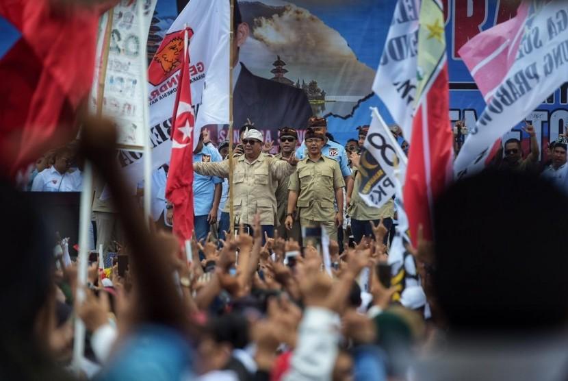 Prabowo saat berkampanye di Bali, Selasa (26/3).