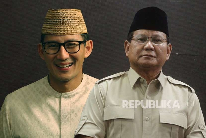 Presidential candidate number 02 Prabowo Subianto and his running mate Sandiaga Uno (left)