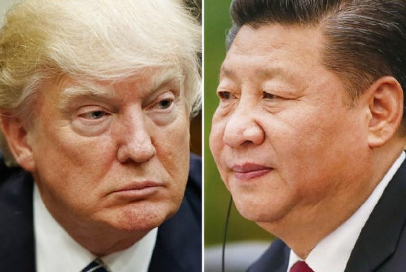 Presiden AS Donald Trump dan Presiden Cina Xi Jinping.