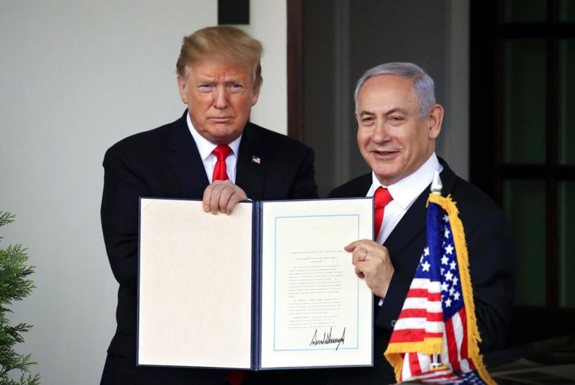 Presiden AS, Donald Trump menandatangani dokumen pengakuan atas Dataran Tinggi Golan merupakan wilayah Israel
