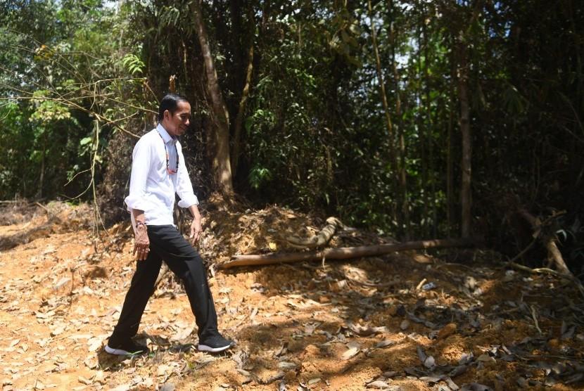 Presiden Joko Widodo berjalan di kawasan hutan saat meninjau salah satu lokasi calon ibu kota negara di Gunung Mas, Kalimantan Tengah, Rabu (8/5/2019).