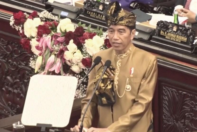 Presiden Joko Widodo berpidato di sidang tahunan MPR, DPR, dan DPD-RI.