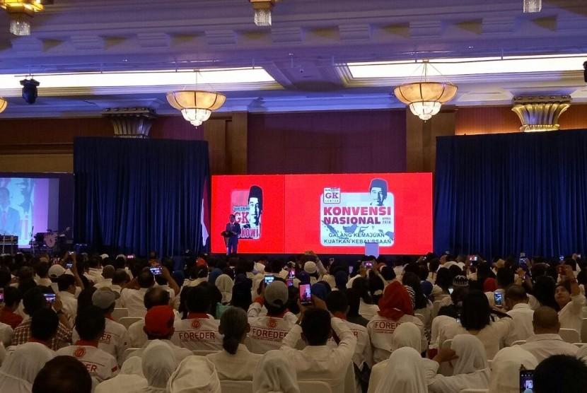 Presiden Joko Widodo menghadir Konvensi Nasional GK Center di Puri Begawan, Bogor, Sabtu (7/4).