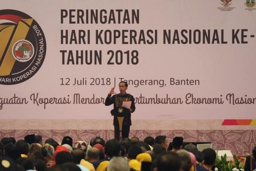 Presiden Joko Widodo menghadiri perayaan hari koperasi nasional ke -71 di ICE, Tangerang, Kamis (12/7).
