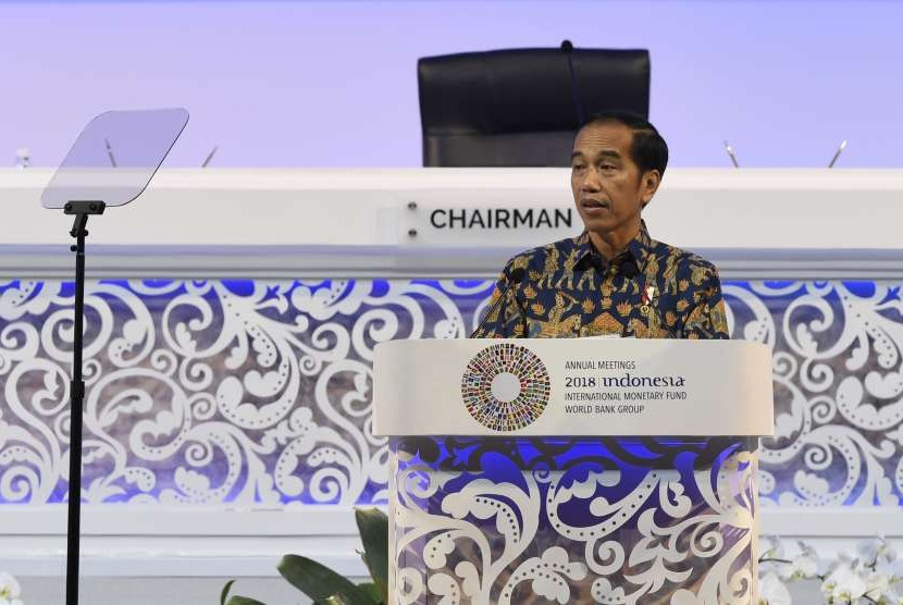 President Joko Widodo delivers his speech at IMF-World Bank Group Annual Meeting 2018 in Nusa Dua, Bali, Friday (Oct 12).