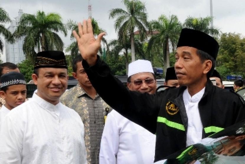 Presiden Jokowi peringati Maulid Nabi Muhammad SAW 1436 hijriah di Silang Monas, Jakarta, Sabtu (3/1).