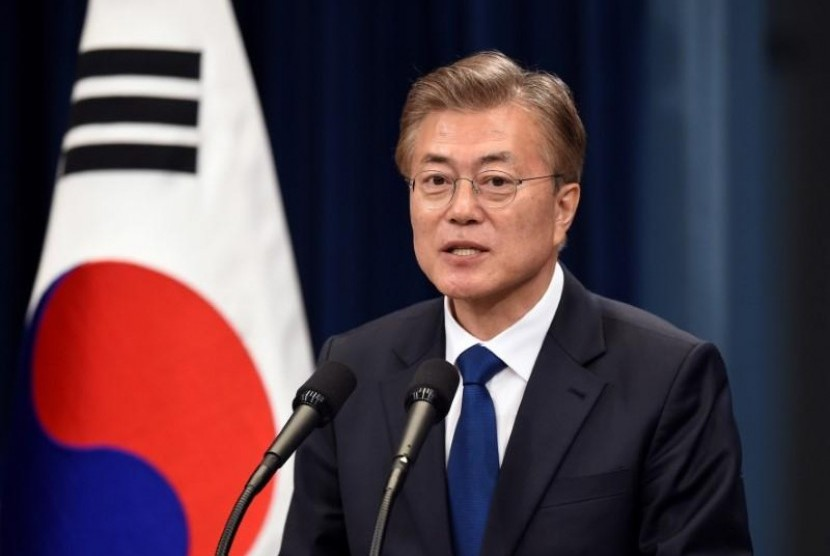 Presiden Korea Selatan (Korsel) Moon Jae-in.