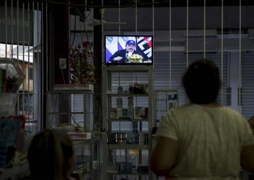 Presiden Nikaragua Daniel Ortega tampil di televisi nasional.