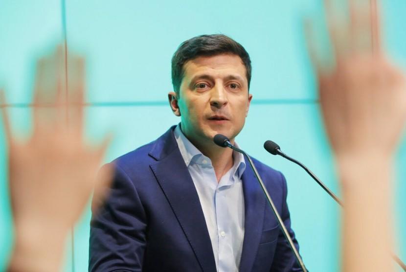 Presiden terpilih Ukraina Volodymyr Zelenski di Kiev, Ukraina, 21 April 2019. Dia adalah seorang komedian yang berperan sebagai presiden.
