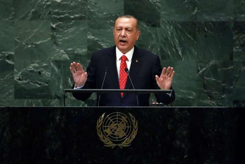 Presiden Turki Recep Tayyip Erdogan dalam Majelis Umum PBB, Selasa (25/9).