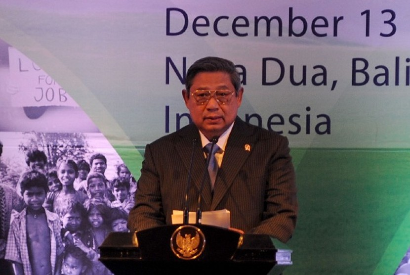 President Susilo Bambang Yudhoyono delivers his message at the Post-2015 Development Agenda in the regional meeting and stakeholder consultation in Bali on Thursday.