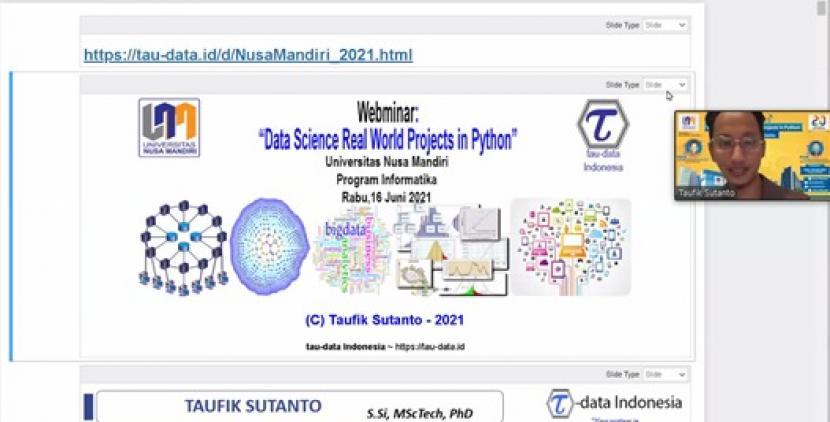 Prodi Informatika Universitas Nusa Mandiri (UNM)  menggelar webinar data science, Rabu (16/6).