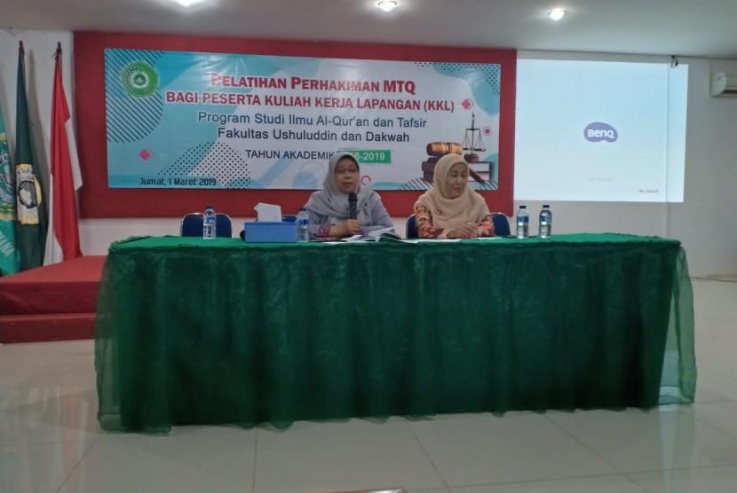 Program studi Ilmu Alquran dan Tafsir (IAT) Institut Ilmu Quran menggelar pelatihan perhakiman Mushabaqah Tilawatil Qur'an (MTQ) bagi peserta Kuliah kerja Lapangan (KKL).