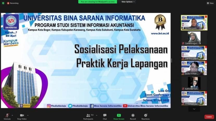 Program studi (prodi) Sistem Informasi Akuntansi Universitas BSI (Bina Sarana Informatika) melangsungkan sosialisasi pelaksanaan Praktek Kerja Lapangan (PKL).
