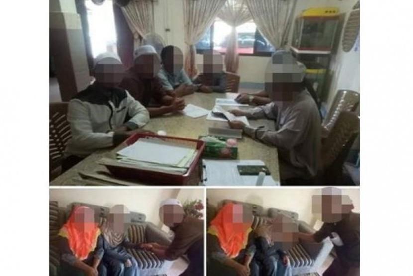 Proses pernikahan antara Che Abdul Karim (41 tahun) dengan A yang masih berusia 11 tahun di Malaysia yang menggemparkan