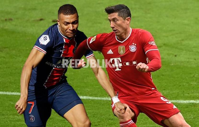 PSG Vs Bayern Muenchen. Juara bertahan Bayern Muenchen kembali akan tanpa kehadiran striker andalan Robert Lewandowski saat berkunjung ke markas Paris Saint-Germain (PSG) pada leg kedua perempat final Liga Champions 2020/2021, yang berlangsung di Stade de Princes, Rabu (14/4) dini hari WIB.