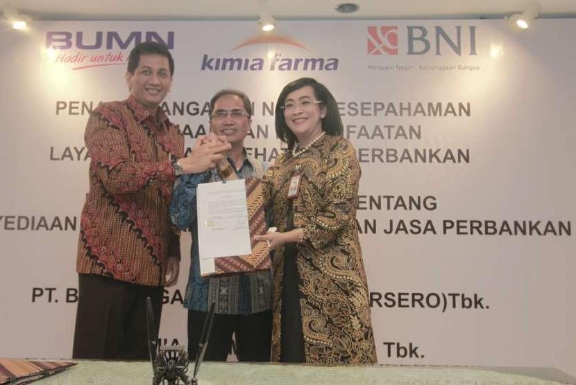 PT Bank Negara Indonesia (Persero) Tbk menggandeng PT Kimia Farma (Persero) Tbk untuk menjadikan jaringan Outlet Apotik Kimia Farma sebagai Agen46.